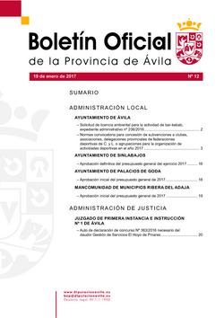 Boletín Oficial de la Provincia del jueves, 19 de enero de 2017