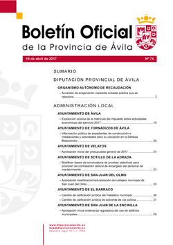 Boletín Oficial de la Provincia del miércoles, 19 de abril de 2017