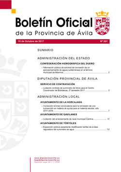 Boletín Oficial de la Provincia del jueves, 19 de octubre de 2017