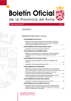 Boletín Oficial de la Provincia del viernes, 20 de enero de 2017