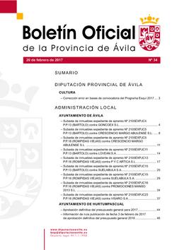 Boletín Oficial de la Provincia del lunes, 20 de febrero de 2017