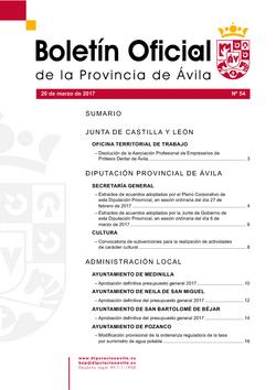 Boletín Oficial de la Provincia del lunes, 20 de marzo de 2017