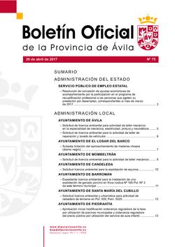 Boletín Oficial de la Provincia del jueves, 20 de abril de 2017