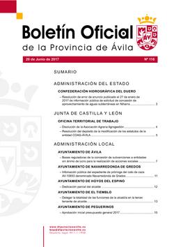Boletín Oficial de la Provincia del martes, 20 de junio de 2017