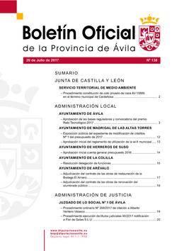 Boletín Oficial de la Provincia del jueves, 20 de julio de 2017