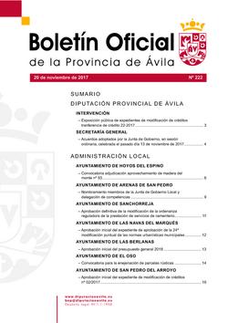 Boletín Oficial de la Provincia del lunes, 20 de noviembre de 2017