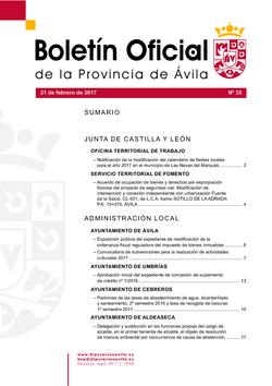 Boletín Oficial de la Provincia del martes, 21 de febrero de 2017