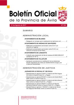 Boletín Oficial de la Provincia del lunes, 21 de agosto de 2017