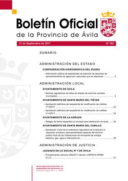 Boletín Oficial de la Provincia del jueves, 21 de septiembre de 2017