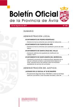 Boletín Oficial de la Provincia del martes, 22 de agosto de 2017