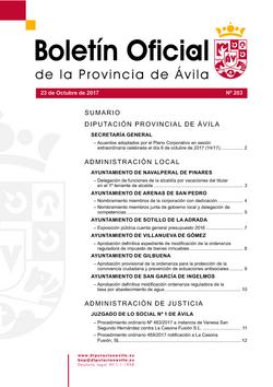 Boletín Oficial de la Provincia del lunes, 23 de octubre de 2017