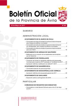 Boletín Oficial de la Provincia del jueves, 25 de mayo de 2017