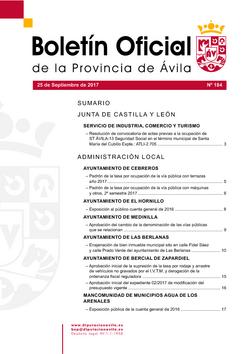 Boletín Oficial de la Provincia del lunes, 25 de septiembre de 2017