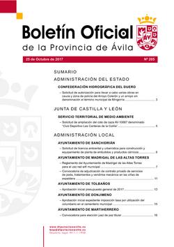 Boletín Oficial de la Provincia del miércoles, 25 de octubre de 2017