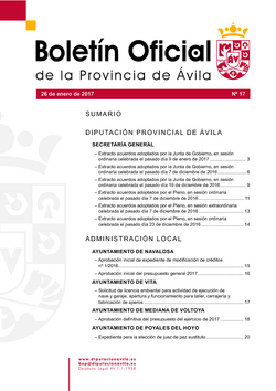 Boletín Oficial de la Provincia del viernes, 27 de enero de 2017