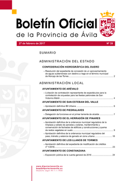 Boletín Oficial de la Provincia del lunes, 27 de febrero de 2017