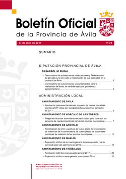 Boletín Oficial de la Provincia del jueves, 27 de abril de 2017