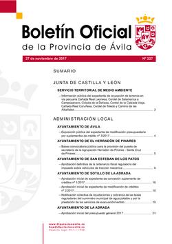 Boletín Oficial de la Provincia del lunes, 27 de noviembre de 2017