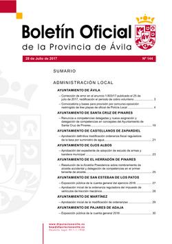 Boletín Oficial de la Provincia del viernes, 28 de julio de 2017