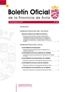 Boletín Oficial de la Provincia del lunes, 28 de agosto de 2017