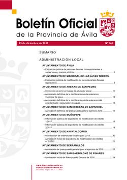 Boletín Oficial de la Provincia del viernes, 29 de diciembre de 2017