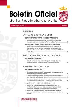 Boletín Oficial de la Provincia del martes, 30 de mayo de 2017