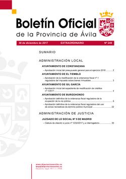 Boletín Oficial de la Provincia del sábado, 30 de diciembre de 2017