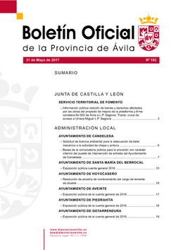 Boletín Oficial de la Provincia del miércoles, 31 de mayo de 2017