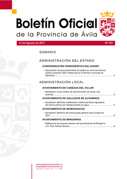 Boletín Oficial de la Provincia del jueves, 31 de agosto de 2017