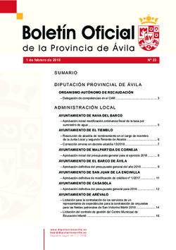 Boletín Oficial de la Provincia del jueves, 1 de febrero de 2018