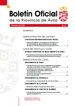 Boletín Oficial de la Provincia del jueves, 1 de marzo de 2018