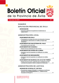 Boletín Oficial de la Provincia del martes, 2 de enero de 2018