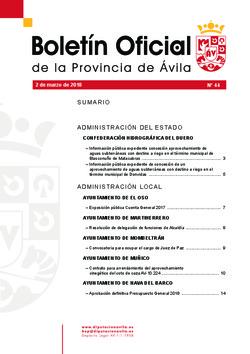Boletín Oficial de la Provincia del viernes, 2 de marzo de 2018