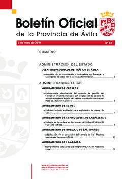 Boletín Oficial de la Provincia del miércoles, 2 de mayo de 2018