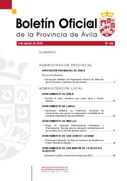 Boletín Oficial de la Provincia del jueves, 2 de agosto de 2018