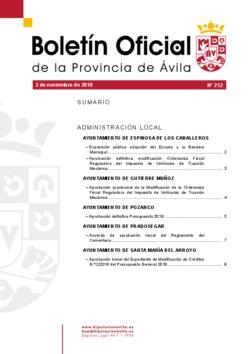 Boletín Oficial de la Provincia del viernes, 2 de noviembre de 2018