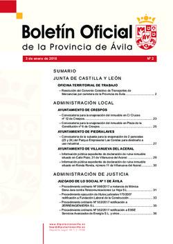 Boletín Oficial de la Provincia del miércoles, 3 de enero de 2018