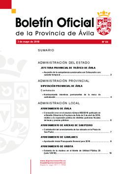 Boletín Oficial de la Provincia del jueves, 3 de mayo de 2018