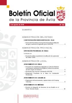 Boletín Oficial de la Provincia del viernes, 3 de agosto de 2018
