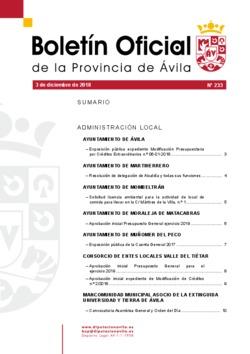 Boletín Oficial de la Provincia del lunes, 3 de diciembre de 2018
