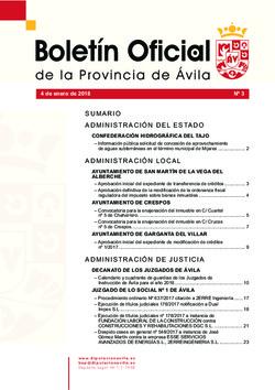 Boletín Oficial de la Provincia del jueves, 4 de enero de 2018