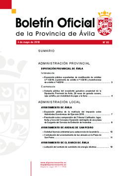 Boletín Oficial de la Provincia del viernes, 4 de mayo de 2018