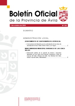 Boletín Oficial de la Provincia del jueves, 4 de octubre de 2018