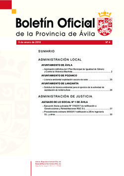 Boletín Oficial de la Provincia del jueves, 11 de enero de 2018