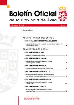 Boletín Oficial de la Provincia del lunes, 5 de marzo de 2018