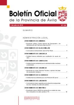 Boletín Oficial de la Provincia del jueves, 5 de julio de 2018