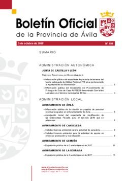 Boletín Oficial de la Provincia del viernes, 5 de octubre de 2018