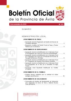 Boletín Oficial de la Provincia del lunes, 5 de noviembre de 2018