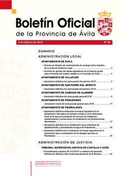 Boletín Oficial de la Provincia del martes, 6 de febrero de 2018