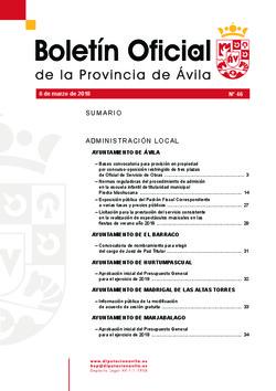 Boletín Oficial de la Provincia del martes, 6 de marzo de 2018